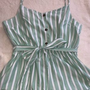 Pants - Green & White striped romper XXL